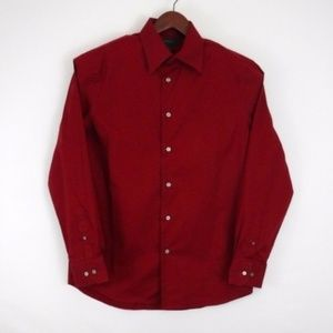 Express Maroon Red  Button Down Long Sleeve Shirt
